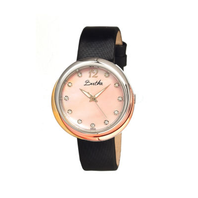 Bertha Jean Womens Swiss Light Pink Leather Strap Watch Bthbr3503