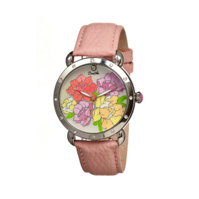 Bertha Angela Womens Mother Of Pearl Dial Coral Leather Strap Watch Bthbr3601