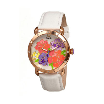 Bertha Angela Womens Mother Of Pearl Dial White Leather Strap Watch Bthbr3603