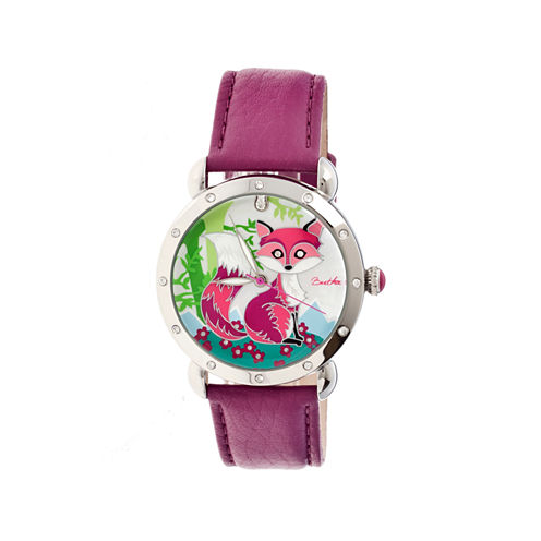 Bertha Vivica Womens Mother Of Pearl Dial Fuschia Leather Strap Watch Bthbr3701