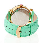 Bertha Vivica Womens Mother Of Pearl Mint Green Leather Strap Watch Bthbr3702