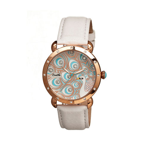 Bertha Genevieve Womens Mother Of Pearl Dial White Leather Strap Watch Bthbr3806