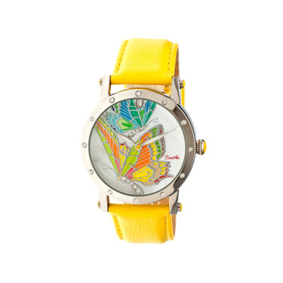 Bertha Isabella Womens Mother Of Pearl Dial Yellow Leather Strap Watch Bthbr4301