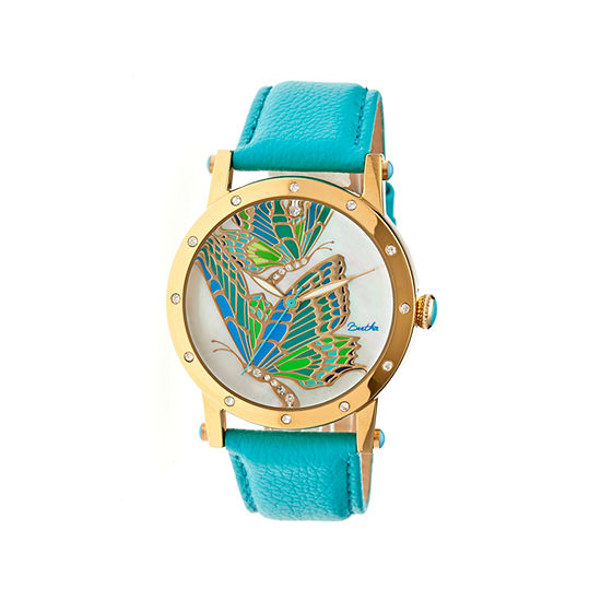 Bertha Isabella Womens Mother Of Pearl Dial Turquoise Leather Strap Watch Bthbr4302