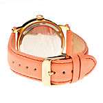 Bertha Isabella Womens Mother Of Pearl Dial Coral Leather Strap Watch Bthbr4303