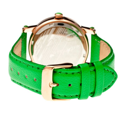 Bertha Isabella Womens Mother Of Pearl Dial Green Leather Strap Watch Bthbr4305