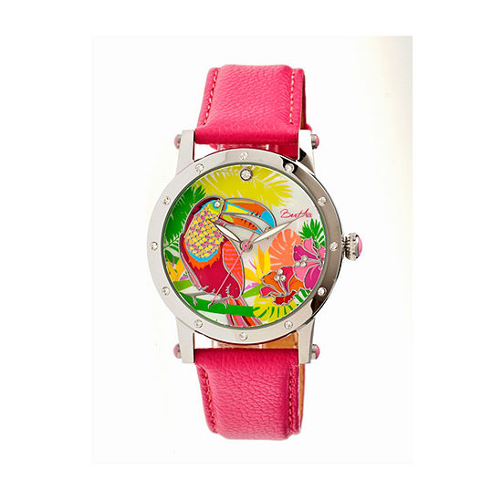 Bertha Gisele Womens Mother Of Pearl Dial Hot Pink Leather Strap Watch Bthbr4401