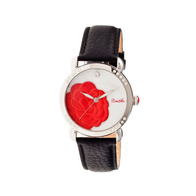 Bertha Daphne Womens Black Rose Leather Strap Watch Bthbr4601