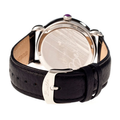 Bertha Daphne Womens Black And Purple Rose Leather Strap Watch Bthbr4603