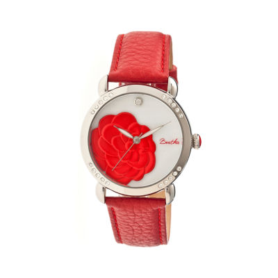 Bertha Daphne Womens Red Rose Leather Strap Watch Bthbr4604