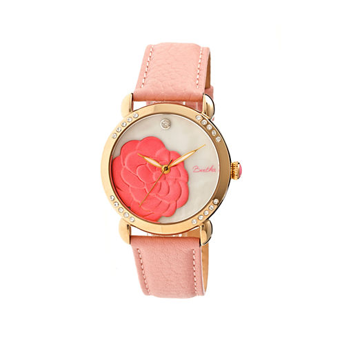 Bertha Daphne Womens Pink Rose Leather Strap Watch Bthbr4605