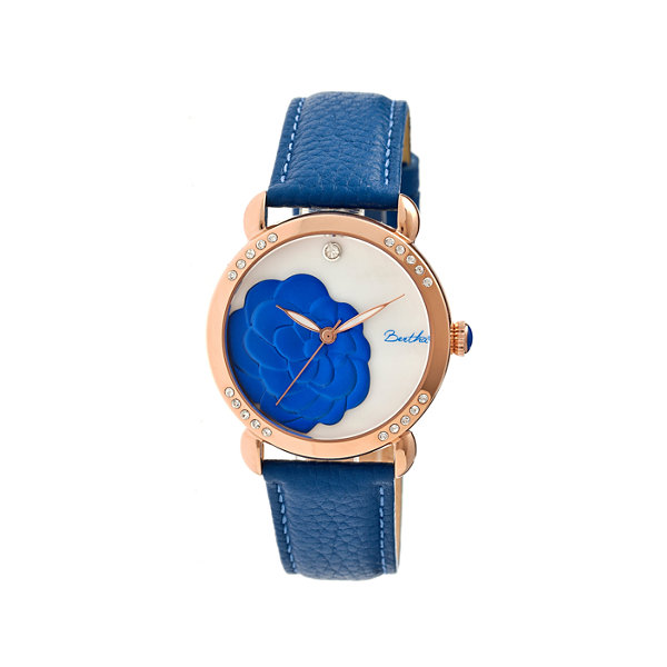 Bertha Daphne Womens Blue Rose Leather Strap Watch Bthbr4607