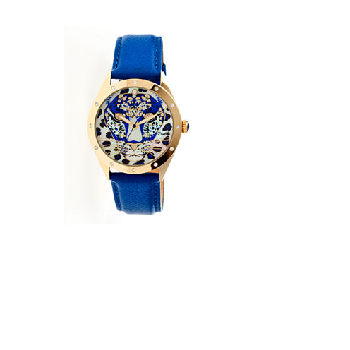 Bertha Alexandra Womens Mother Of Pearl Dial Blue Leather Strap Watch Bthbr4706