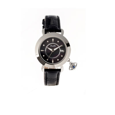 Bertha Womens Iris Mother-Of-Pearl Black Leather Strap Watch With Date BTHBR5302