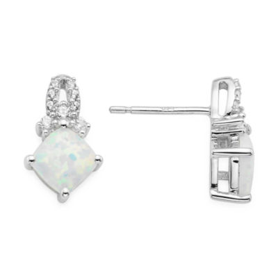 Lab Created Opal And White Sapphire Sterling Silver Earrings