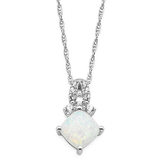 Lab Created Opal & White Sapphire Sterling Silver Pendant