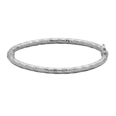 Made in Italy 14K White Gold 4mm Hinged Bangle Bracelet