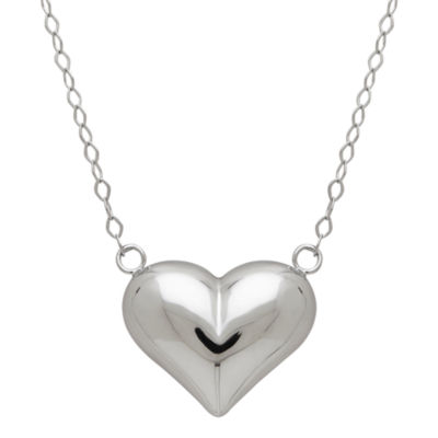 14K White Gold 17 Inch Puffed Heart Necklace