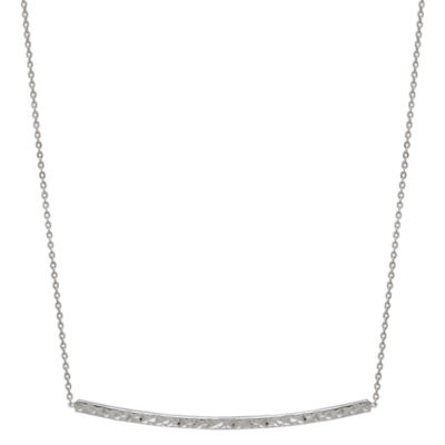 14K White Gold 17 Inch Curved Bar Necklace