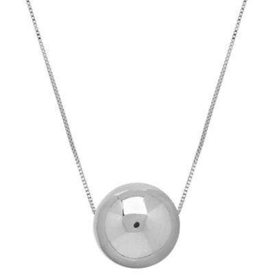 14K White Gold 18 Inch Bead Pendant Necklace