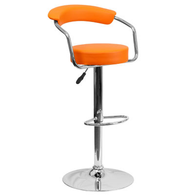 Contemporary Vinyl Adjustable Height Barstool withArms and Chrome Base