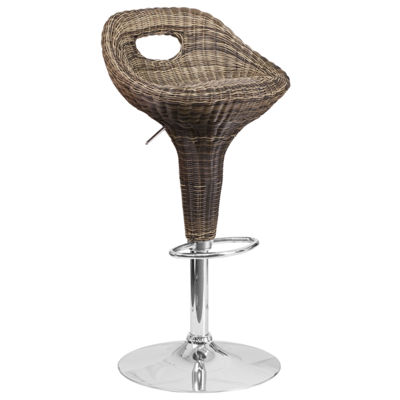 Contemporary Wicker Adjustable Height Barstool with Chrome Base