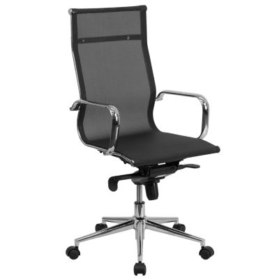 High Back Transparent Mesh Executive Swivel Chairwith Synchro-Tilt Mechanism and Arms
