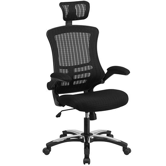 High Back Mesh Executive Swivel Chair with ChromePlated Nylon Base and Flip-Up Arms