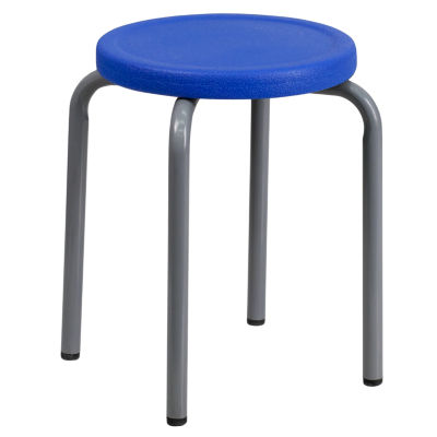 Stackable Stool with Silver Powder Coated Frame