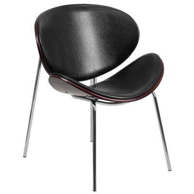 Bentwood Leisure Side Reception Chair with Black Leather Seat