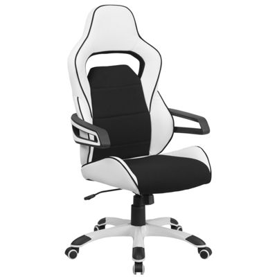 High Back Vinyl Executive Swivel Chair with FabricInserts and Arms
