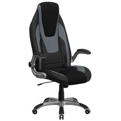 High Back Two-Tone Vinyl Executive Swivel Chair with Mesh Insets and Flip-Up Arms