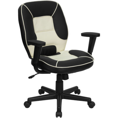 Mid-Back Two-Tone Vinyl Steno Executive Swivel Chair with Adjustable Arms