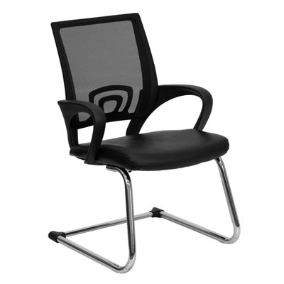 Mesh Side Reception Chair with Leather Seat and Sled Base