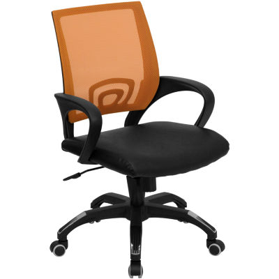 Mid-Back Mesh Swivel Task Chair with Black LeatherSeat and Arms