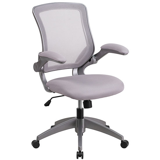 Mid Back Mesh Swivel Task Chair With Gray Frame And Flip Up Arms