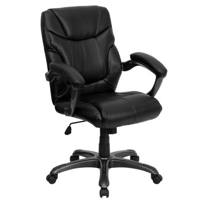 Mid-Back Leather Overstuffed Swivel Task Chair with Arms