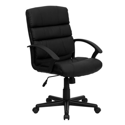 Mid-Back Leather Swivel Task Chair with Arms
