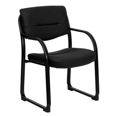 Leather Executive Side Reception Chair with Sled Base