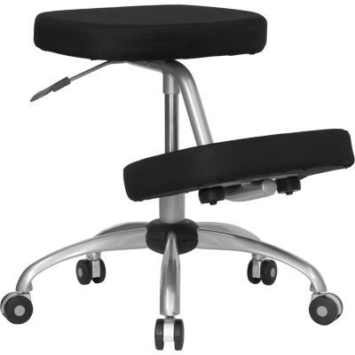 Mobile Ergonomic Kneeling Chair with Silver Frame