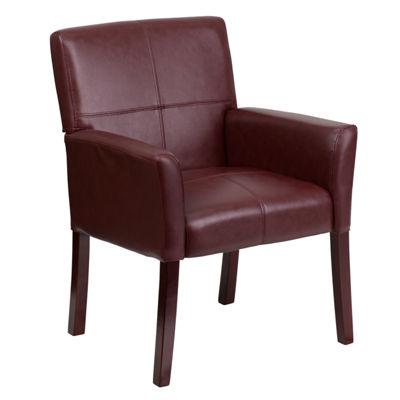 Leather Executive Side Reception Chair with Mahogany Legs