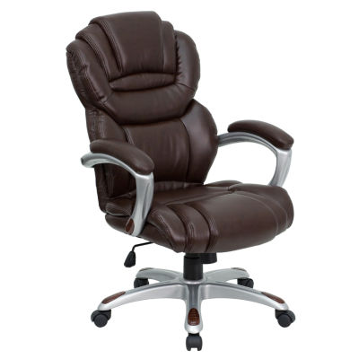 High Back Leather Executive Swivel Chair with Arms