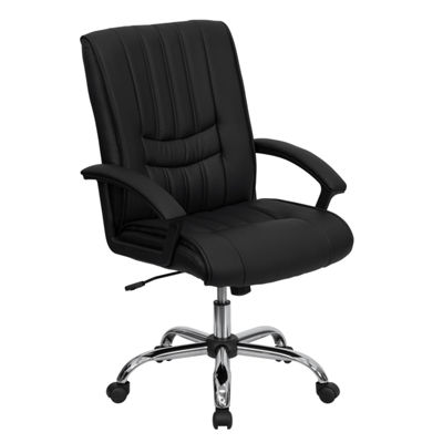 Mid-Back Leather Swivel Manager's Chair with Arms