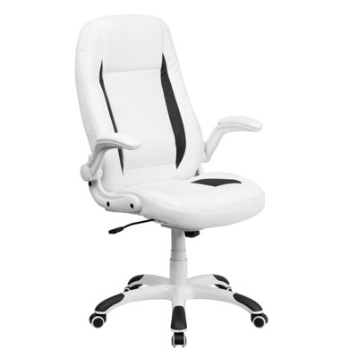 High Back Leather Executive Swivel Chair with Flip-Up Arms