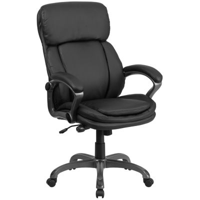 High Back Leather Executive Swivel Chair with Lumbar Support Knob with Arms