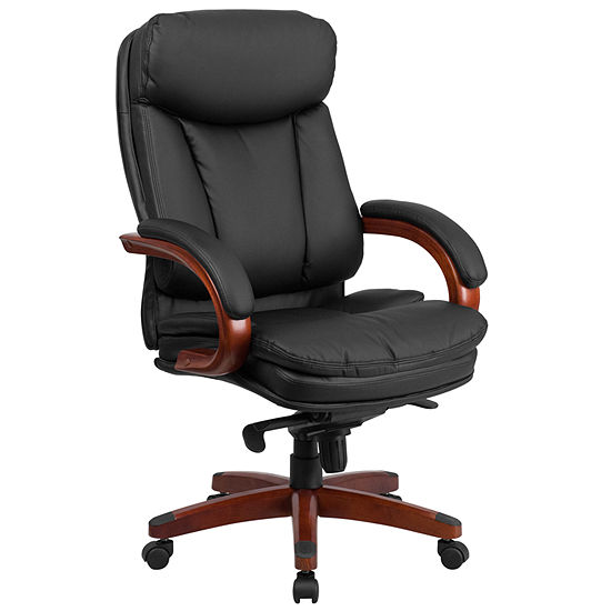 High Back Leather Executive Swivel Chair with Synchro-Tilt Mechanism, Mahogany Wood Base and Arms