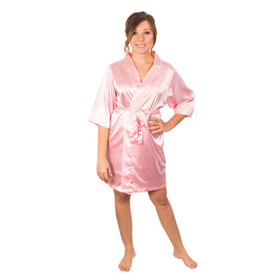 Cathy's Concepts Personalized Solid Satin Satin Kimono Robes