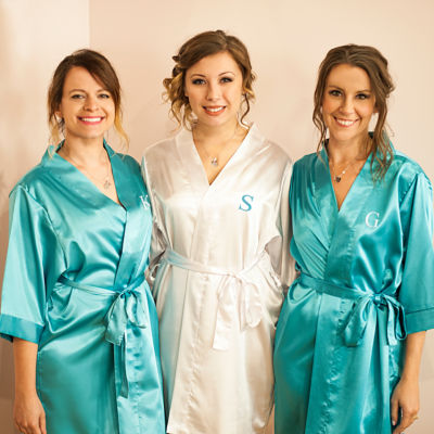 Cathy's Concepts Personalized With Necklace Set Womens Satin Kimono Robes