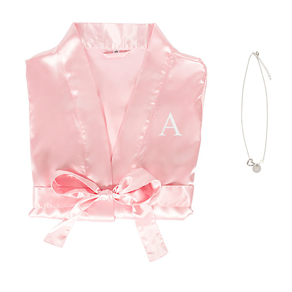 Cathy's Concepts Personalized With Necklace Set Satin Kimono Robes