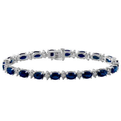 Womens 7 1/2 Inch Blue Sapphire Sterling Silver Chain Bracelet